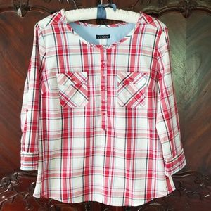 Venus plaid top sz 10 red white tunic 3/4 sleeves